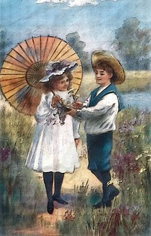 Happy Days Of Summer, Painted, Depiction Of Couple