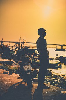 Backpacking, Travel, Motorcycle, Person, Sea, Light