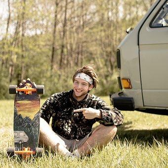 Vanlife, Longboard, Board, Sport, Skateboarder