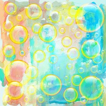 Bubbles, Blue, Floating, Air, Watercolour, Watercolor