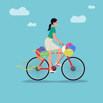Cyclist, Bicycle, Women, Sport, Environment, Balloons
