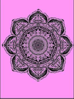 Pink Background, Black Mandala, 8 Point Mandala, Design