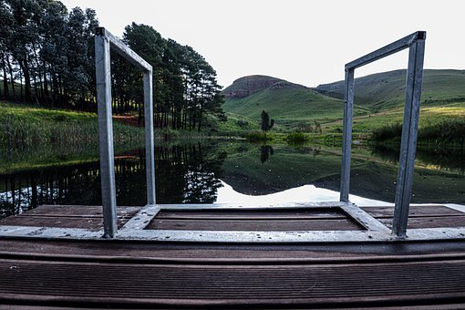 Jetty, Water, Hills, Calm, Lake