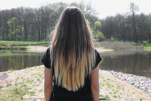 Woman, Back, Hair, Longhair, River, Trees, Forest, Girl