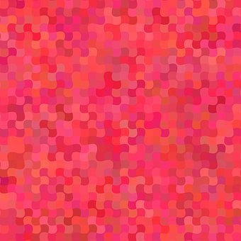 Mosaic, Curved, Pattern, Red, Pink, Shape, Background