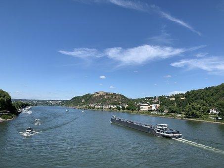 Rhine, Koblenz, Fortress, River, Sachsen