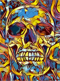 Skull, Tattoo, Art, Death, Symbol, Abstract, Colorful