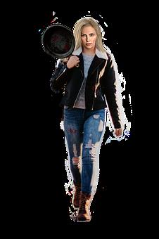 Frying Pan, Woman, Weapon, Funny, Dystopian