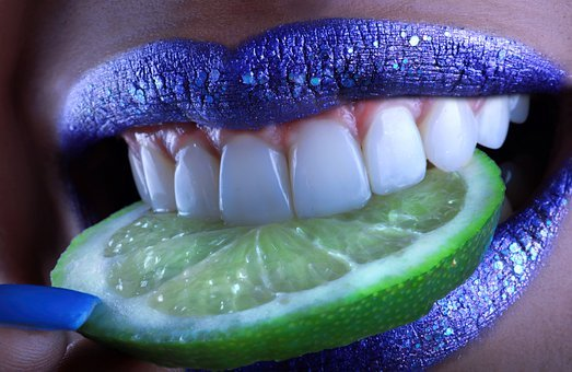 Lemon, Acid, Bite, Lips, Blue, Teeth, Sexy, Cocktail