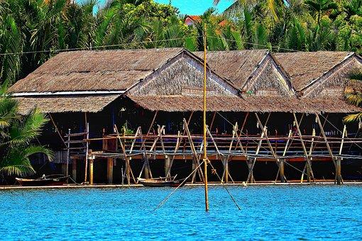 Vietnam, Halong, Sea, House, Stalk, Straw House