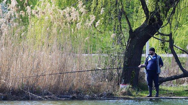 Man, Person, Suit, Sweatpants, Fishing