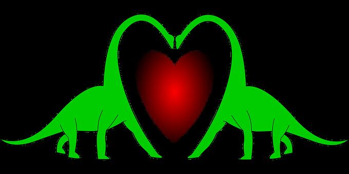 Heart, Love, Dinosaur, Valentine, Wedding, Red, Romance
