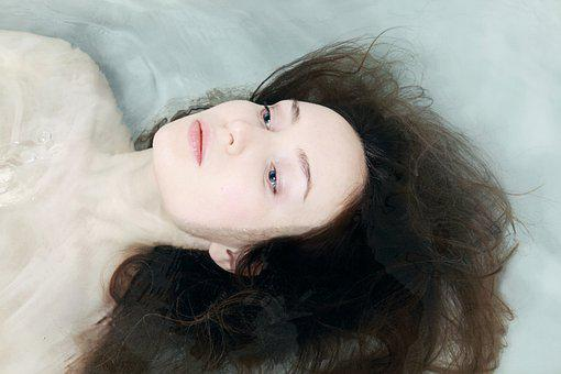 Woman, Female, Face, In, Water, Person