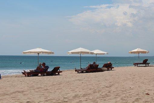 Beach, Umbrella, Beach-goers, Bali, Kuta, White, Sand
