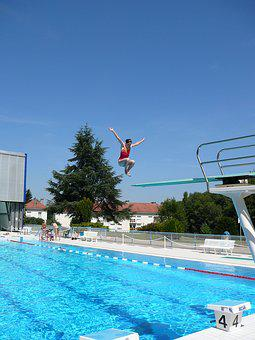 Centre, Aquatic, Remiremont, Jump, Swimming Pool, Delve