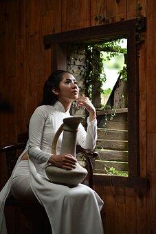 Girl, Vintage, Vietnam, Woman, Asia, White Dress