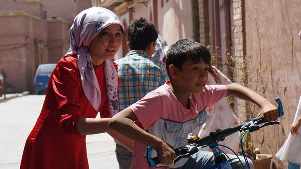 Bike, Girls, Kids, Street, Joke, Childhood, Kashi