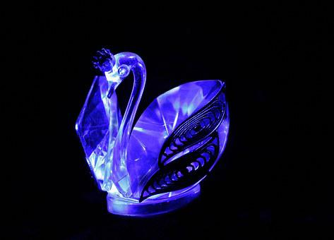Swan, Glass, Blue, Decoration, Glass Blowing, Swans