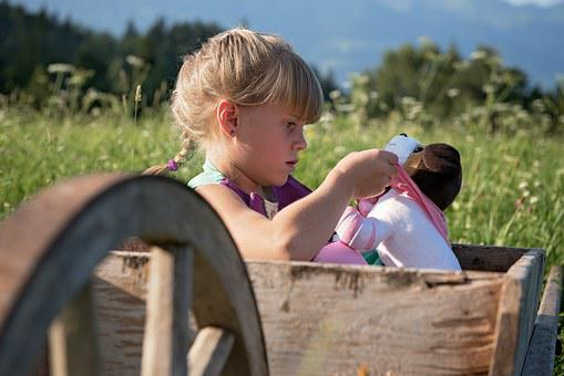Child, Girl, Play, Out, Nature, Wheelbarrows