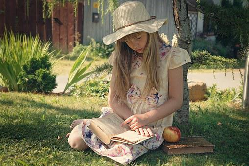 Girl, Child, Read, Book, Out, Nature, Hat, Long Hair