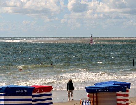 Beach, North Sea, Borkum, Clubs, Sail, Swim