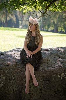 Girl, Dress, Haarschleife, Out, Nature, Summer