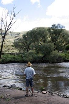 South Africa, Eastern Cape, Stream, Fishing, Man, Water