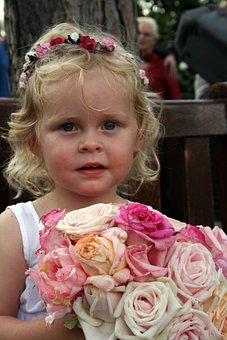 Flower Girl, Roses, Girl, Flower, Young, Female, Face