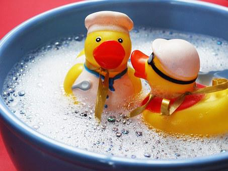 Bath, Splashing, Ducks, Joy, Friends, Happy, Funny