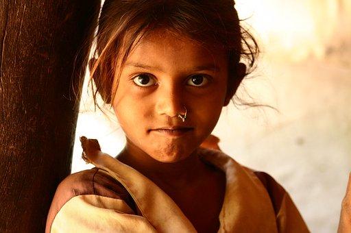 Village, Indian, Girl, Child, Student, Face, Portrait