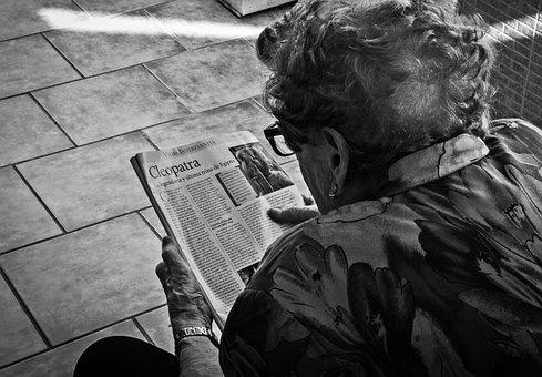 Grandmother, Elderly Woman, Reading, Magazine, Read