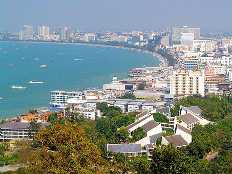 Pattaya, Thailand, Beach, Hill, Downtown, Sunlight