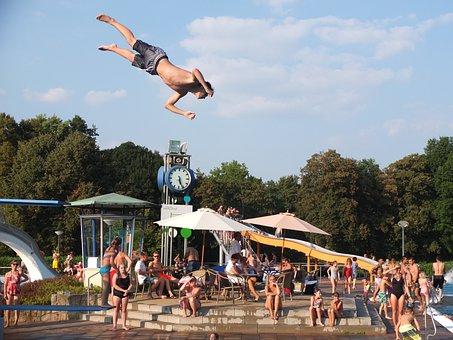 Outdoor Pool, Summer, Swimming Pool, Swim, Jump