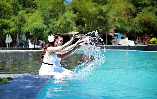 Pool, Couple, Woman, Swimming, Man, Vacation, Love