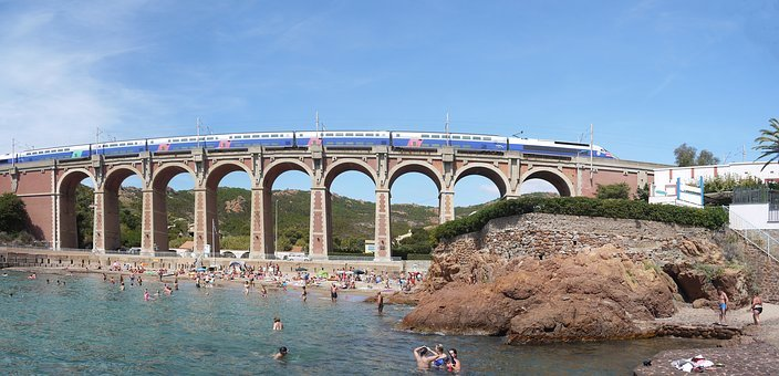 Côte D ' Azur, Beach, Mediterranean, Arch Bridge, Train