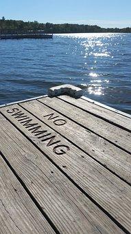 Lake, Dock, Autumn, Summer, No Swimming, Wood