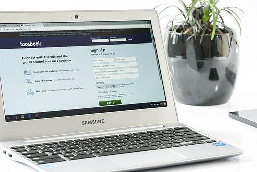 Facebook Login, Office, Laptop, Business, Computer