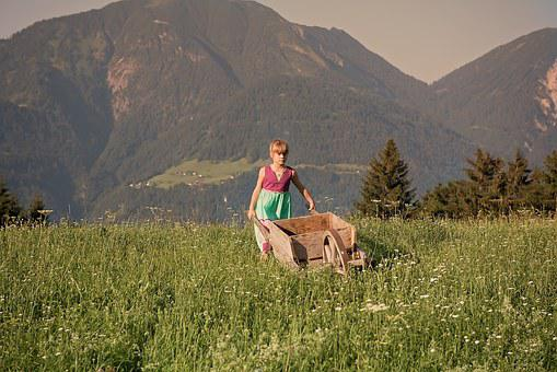 Child, Girl, Wheelbarrows, Out, Nature, Meadow, Grass