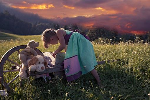 Child, Girl, Out, Nature, Play, Toys, Stuffed Animals