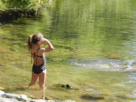 Little Girl, Waterfall, Peace, Quiet, Summer, Lake