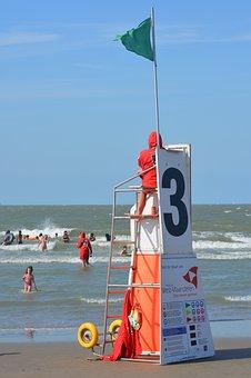 Sea, Blankenberge, People, Beach, Holiday, Rescuer