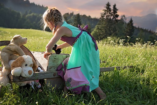 Child, Girl, Play, Out, Meadow, Nature, Toys