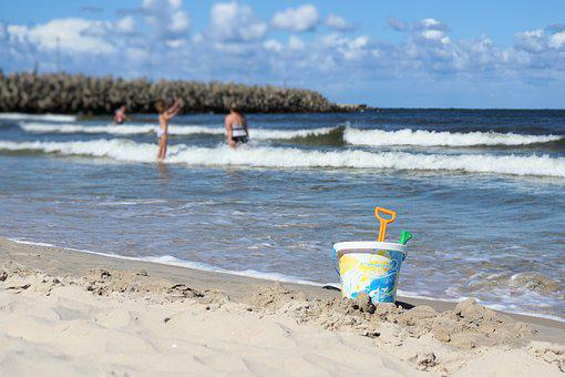 Toys, Bucket, Pokes Fun At, Baltic Sea, Sand, Summer