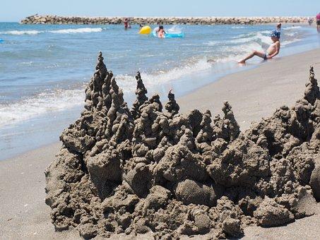 Castle, Sandburg, Sea, Beach, Swim, Vacations