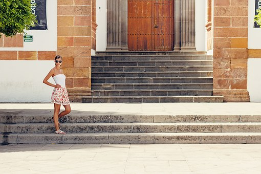 Young Woman, Stair, Summer, Canary Islands, Grancanaria