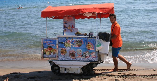Ice, Beach, Ice Cream Vendor, Maritime, Swim, Holiday
