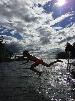Jump, Swim, Water, Lake, Summer, Fun, Swimming
