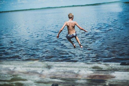 Jump, Summer, Lake, Swim, Adventure