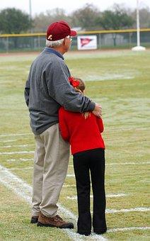 Grandfather, Senior, Together, Child, Family, Hug, Girl