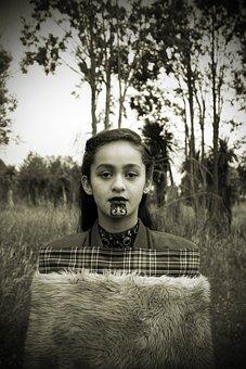 Girl, Portrait, Tradition, Culture, Maori, Indigenous
